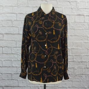 Vintage Lord Taylor Silk Chain Print Top 8
